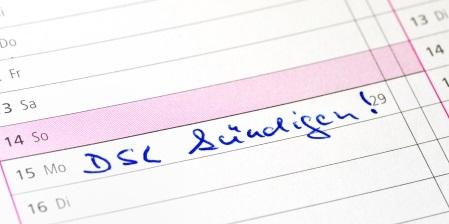 DSL Kündiung im Kalender eingetragen